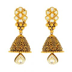 Antique Finish Embossed  Kundan Drop Dangling Gold Jhumka