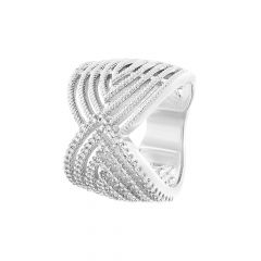 Glitter CZ Diamond Silver Ring