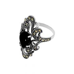 Stunning Synthetic Marcasite Gemstone Silver Ring