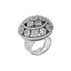 Dazzle Cluster Dome CZ Diamond Adjustable Silver Ring
