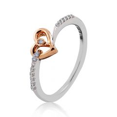 White And Rose Gold Heart Diamond Ring - JJ0012R
