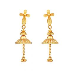 Glossy Finish Engraved Floral Design With Drop Gold Ball Jhumki Earring - JK22_11
