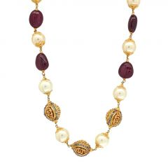 Multicolour Cabechon Cut Stone With Pearl Studded Gold Chain-JM136C