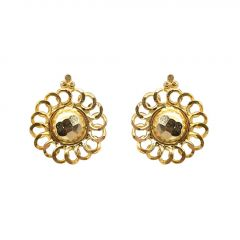 Hammered Finish Floral Design Circle Linked Design Gold Earrings-JM698E