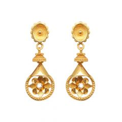 Glossy Satin Finish Floral Design With CZ Studded Drop Gold Earring-JM726E