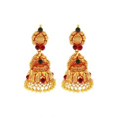 Classy Engraved Peacock Gemstone Gold Jhumka