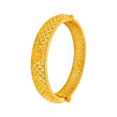 Traditional Embossed Floral Openable Gold Bangle