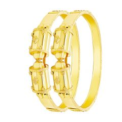 Ceremonial Embossed Gold Bangle (Set Of Two)