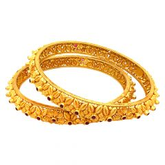 Traditional Textured Floral Gemstone Gold Bangle (Set Of Two)