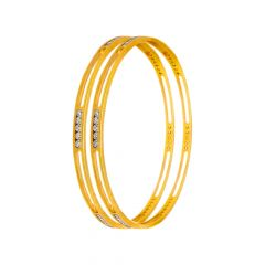 Delicate Regular Wear CZ Daimond Gold Bangles