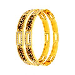 Traditional Enamel Cutout CZ Gold Bangle (Set Of Two)