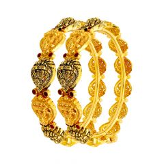 Traditional Temple Gemstone Openable Gold Bangle (Set Of Two)