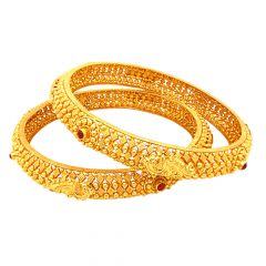 Traditional Embossed Peacock Gemstone Gold Bangle (Set Of Two)