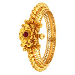 Ceremoinal Cutout Embossed Floral Gemstone Gold Kada