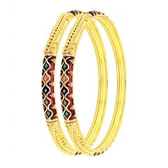 Traditional Embossed Enamel Gold Bangle (Set Of Two)
