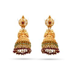 Matte Finish Embossed Peacock Drop Multicolour Stone Beads Jhumki Gold  Earring - KD115