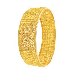 Ceremonial Floral Filigree Gold Bangle