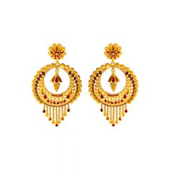Traditional Enamel Textured Floral Gold Earrings