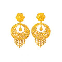 Ceremonial Textured Floral Chandbali Gold Earrings