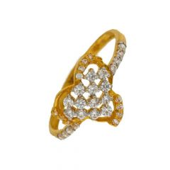 Glossy Finish Contemporary Design Studded With CZ Gold Ring-LFR-1328