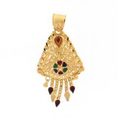 Matte Glossy Finish Diamond Cut Multi Colour Enamel Heart Floral Drop Line Design Traditional Gold Pendant