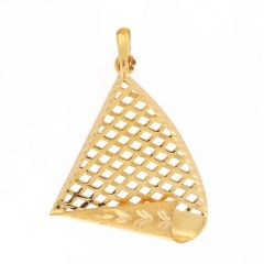 Glossy Sand Blast Finish Diamond Cut Jali Design Gold Pendant