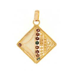 Glossy Finish Mulit Colour Enamel Floral Diamond Shape With Embossed Gold Bead Ball Pendant