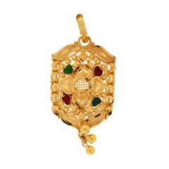 Filigree Drop Bead Design Gold Pendant