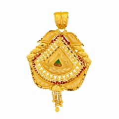 Filigree Drop Design Meenakari Work Gold Pendant