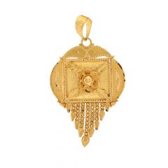 Filigree Floral Drop Leaf Design Gold Pendant