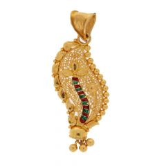 Filigree Leafy Design With Meena Work Gold Pendant