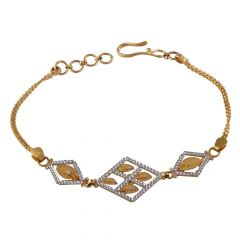 Glossy Rhodhium Polish Diamond Cut Textured Leafy Links Gold Bracelet-LP-150791