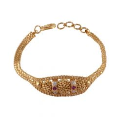 Glossy Cluster Beads CZ With Red Stone Gold Bracelet-LP-211193