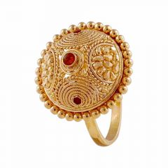 Glossy Finish Traditional Design With Enamel Gold Ring-LR217741