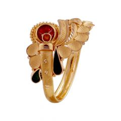 Matte Finish Twisted Curved Traditional Design With Multicolour Enamel Gold Ring-LR218489