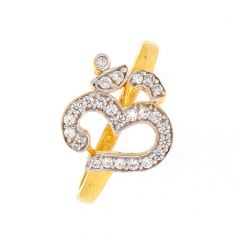 Glossy Finish OM Design With CZ Studded Gold Ring-LR2372