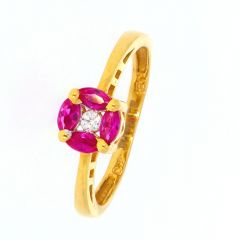 Glossy Finish Marquise Cut Synthetic Ruby With CZ Gold Ring-LR2675