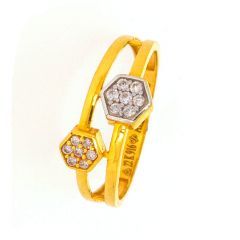 Glossy Finish Hexagon Design Studded With CZ Gold Ring-LR2936