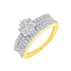 Glam cluster band  Diamond  Ring for Her