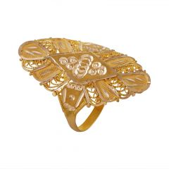 Glossy Diamond Cut Matte Finish Filigree Long Gold Ring - LR4519
