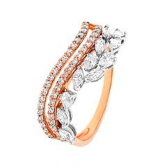 Dazzle Curvy Diamond Rose Gold Ring