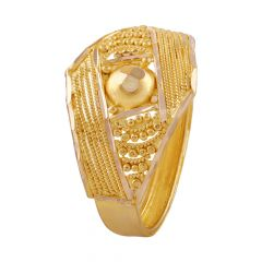 Glossy Spiral Embossed Beads Gold Ring - LR4620