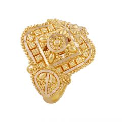 Glossy Embossed Gold Beads Ring - LR4626
