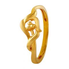 Glossy Finish Knot Floral Gold Ring - LR4718