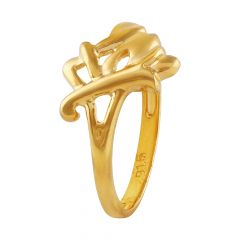 Matte Finish Criscross Gold Ring - LR4723