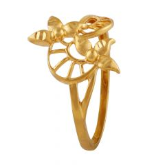 Matte Glossy Leafy Gold Ring - LR4726