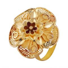 Matte Glossy Finish Enamel Floral Filigree Meenakari Gold Ring - LR4751