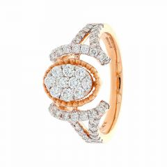 Sparkling Pave Prong Set Contemporary Design Rose Gold Diamond Ring