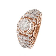 Glittering Halo Design Rose Gold Diamond Ring-LRA1696-8045-8710-001