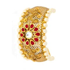 Glossy Antique Finish Floral Filigree Design Studded With Synthetic Kundan Pearl Gold Bracelet